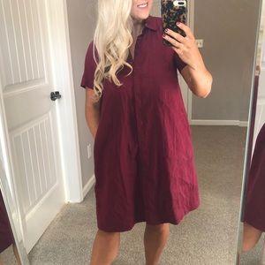 Lafayette 148 Maroon Linen Button Down Dress
